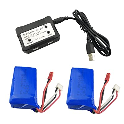 Fytoo 2PCS 7.4V 1100mah Lithium Battery with 2-in-1 Charger for WLtoys A949 A959 A969 A979 S989 V912 T23 T55 F45 RC Remote Control Car Remote Control Unmanned Lithium Battery: Toys & Games