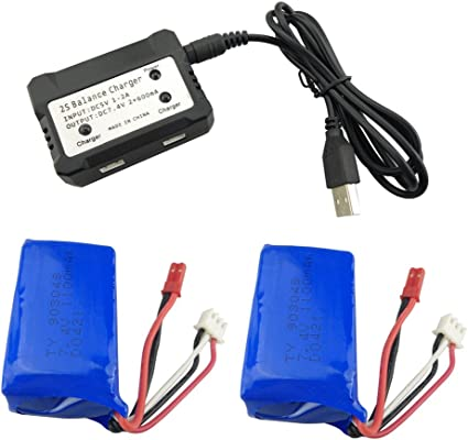 Fytoo 2PCS 7.4V 1100mah Lithium Battery with 2-in-1 Charger for WLtoys A949 A959 A969 A979 S989 V912 T23 T55 F45 RC Remote Control Car Remote Control Unmanned Lithium Battery