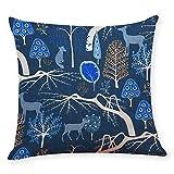 Pgojuni Cotton Linen Square Home Decorative Throw Pillow Case Sofa Waist Cushion Cover for Sofa/Couch 1pc 45X45 cm (B)