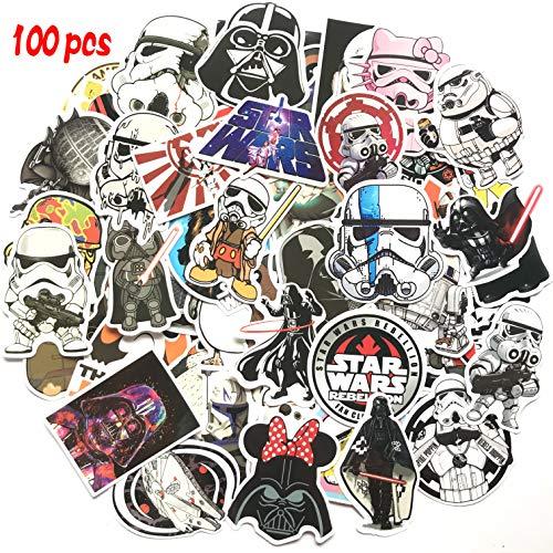 100 Pcs Star Wars Sticker Pack,Unique Cool Stickers Notebook Guitar Skateboard Travel Stickers Waterproof -