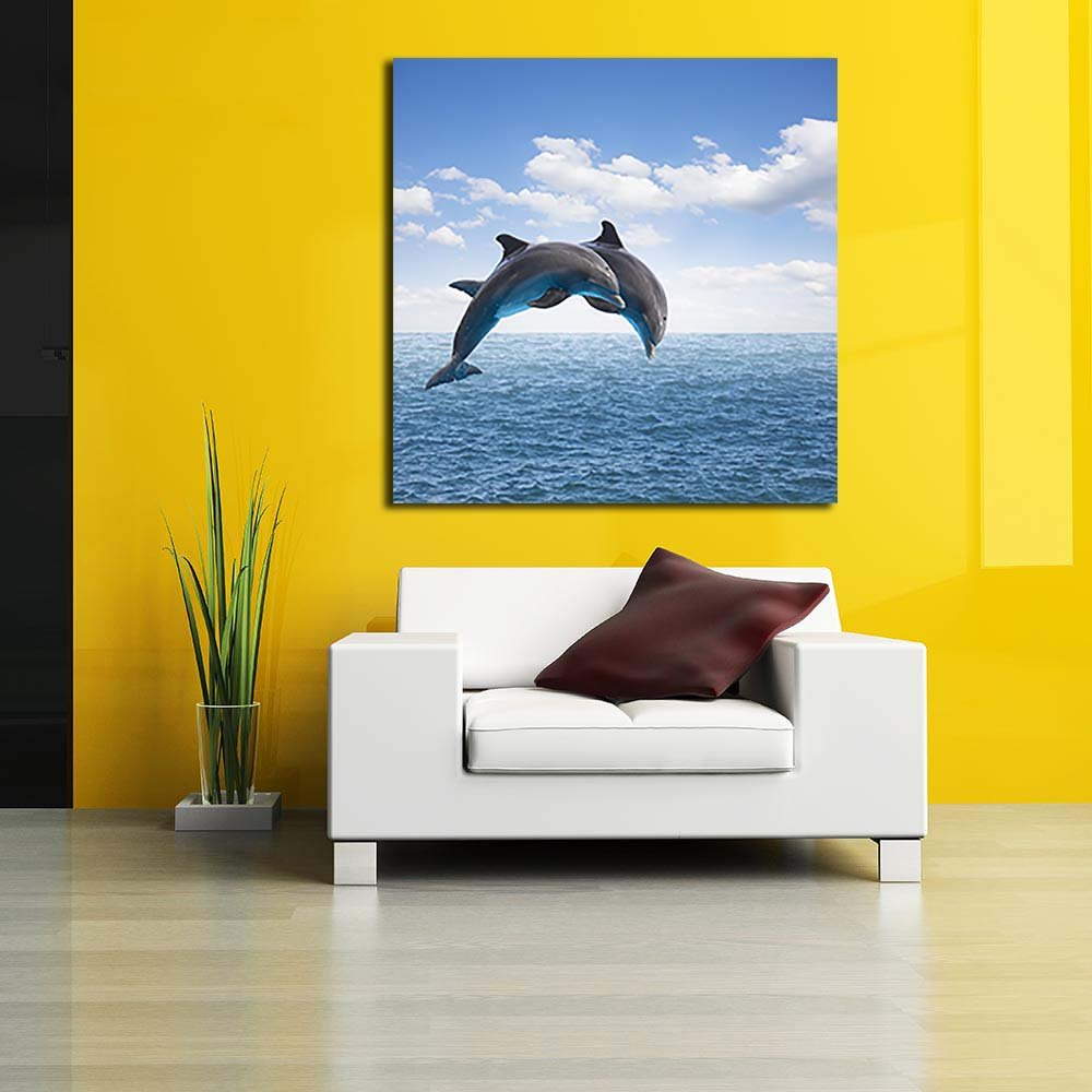 PB Two Jumping Dolphins Canvas Painting 6mm Thick MDF Frame 12 x ...