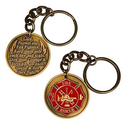 Amazon.com  Firefighter Fireman Fire Department Prayer Key Chain ... af5f6e168103