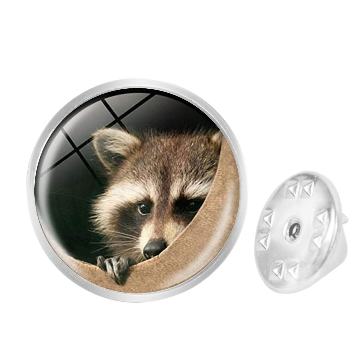 WAZZIT Round Metal Tie Tack Hat Lapel Pin Brooches Raccoon Pattern Vintage Banquet Badge Enamel Pins Trendy Accessory Jacket T-Shirt