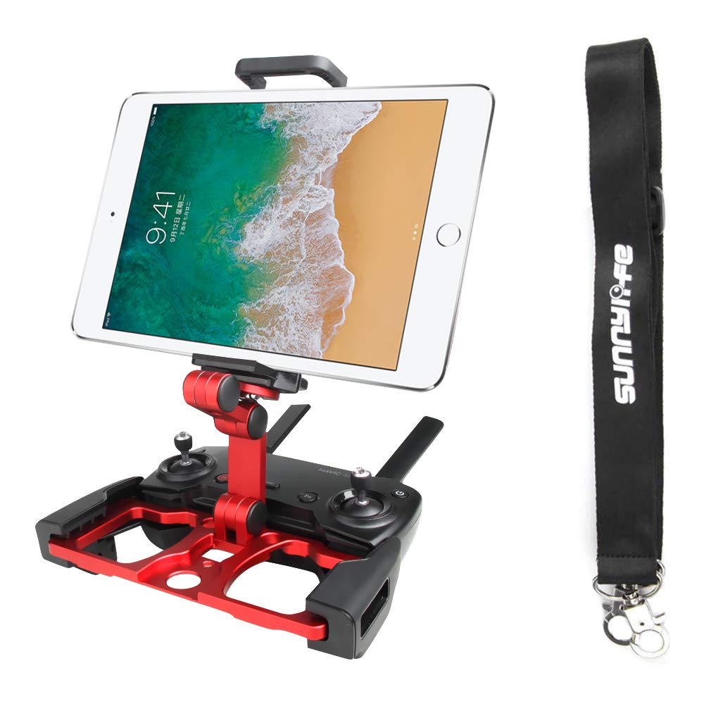 Anbee Foldable Aluminum Tablet Stand Smart Phone Holder Bracket with Lanyard Compatible with DJI Mavic 2 / Mavic Pro Platinum/Mavic Air/Spark Drone Remote Controller (Red) by Anbee