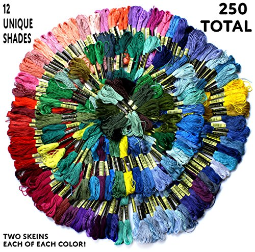 Mega Bundle of Embroidery Thread (250-Skein); 125-Color Variety Pack of Floss for Cross Stitch & Crafts