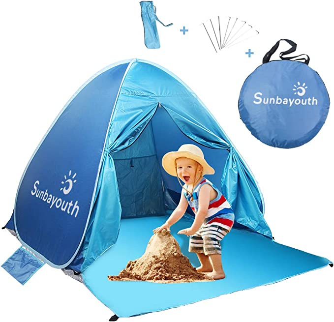 UV Protection and Waterproof Sun Shelter Wading Pool for Infant Baby ALWOA Baby Beach Tent with Pool Portable Pop Up Baby Tent UPF 50