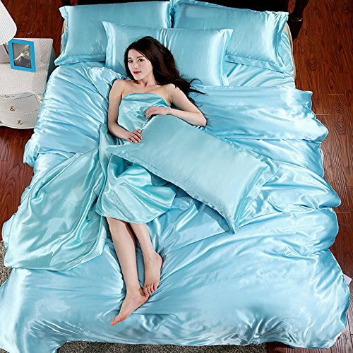 Mulberry Wholesale (Wholesale Price Solid Color Mulberry Silk Quilt Cover Flat Sheet Silk Pillowcases Satin Duvet Cover (Twin Size, Blue))