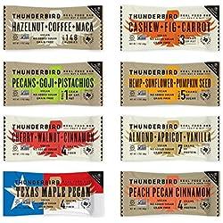 Thunderbird Paleo and Vegan Real Food Energy Bars - Sampler Pack - Box of 8 - No Added Sugar, Grain and Gluten Free, Whole 30, Non-GMO