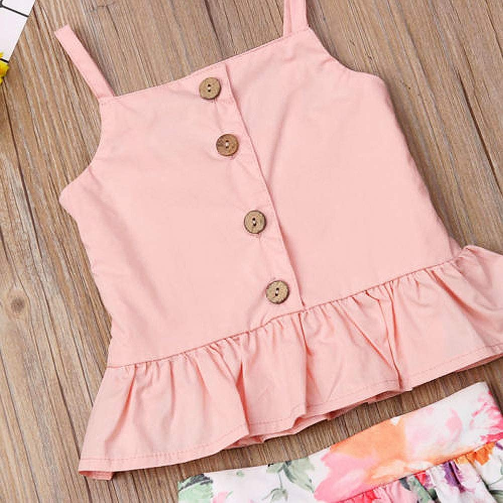 Maxi Boho Skirt Clothes Summer Little Girl Floral Sleeveless Skirt Outfits Sets Ruffle Buttons Strap Tops