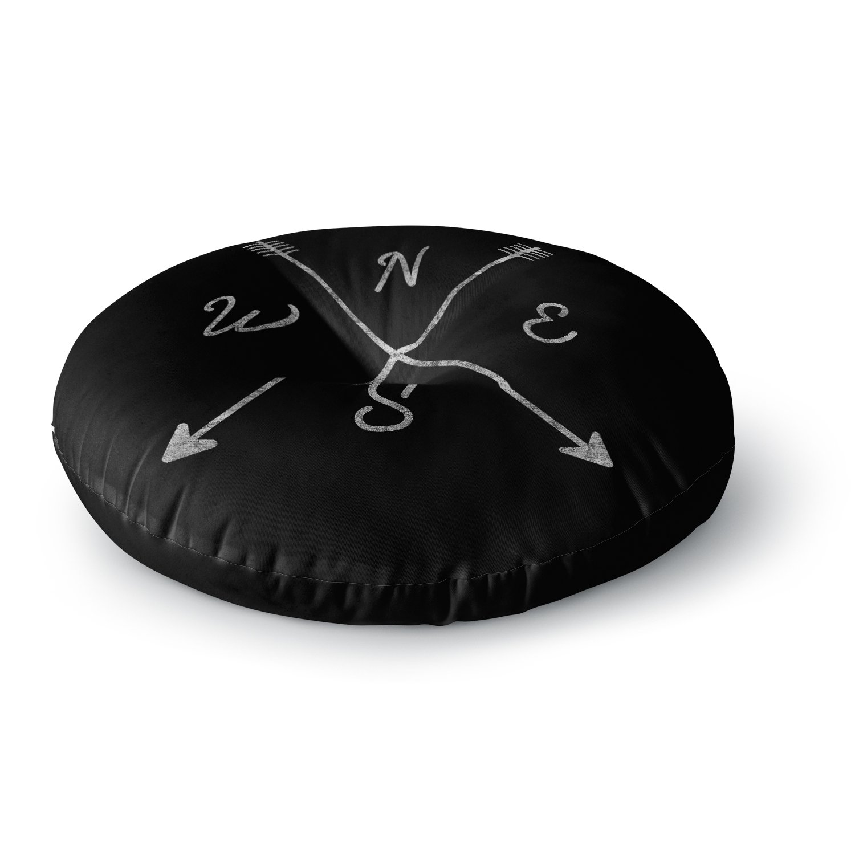 Kess InHouse Draper Cardinal Direction B Black Vintage Round Floor Pillow 26' CD2002ARF02