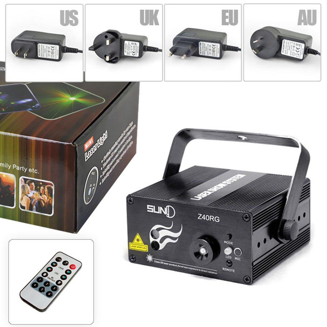 Amazon.com: Stage Laser DJ Lights 3 Lens Red Green 40 Patterns Light ...