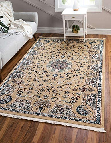 Unique Loom Narenj Collection Classic Traditional Medallion Textured Beige Area Rug 10' 0 x 13' 0