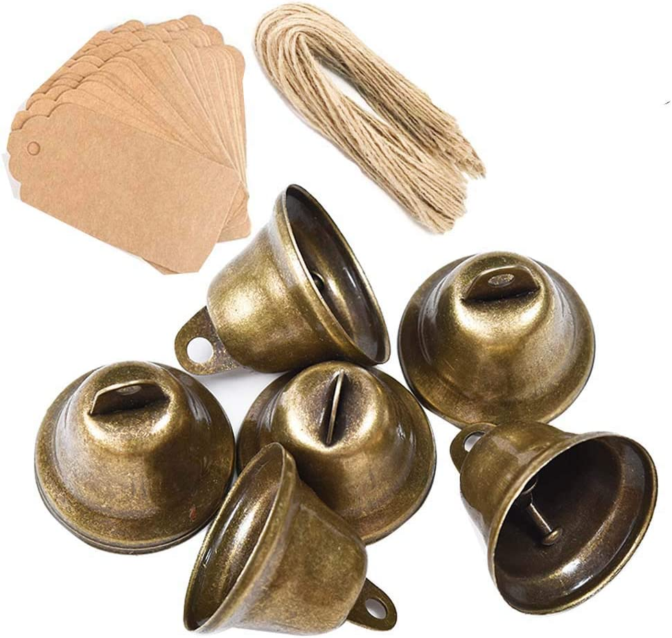 Awtlife 50 pcs Vintage Bronze Jingle Bells with Card Tag for Dog Potty Training Wedding Decor Making Wind Chimes Christmas Bell 1.7 X 1.5 Inches