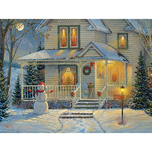 Bits and Pieces - 300 Large Piece Jigsaw Puzzle for Adults - It's a Wonderful Life I - 300 pc Snowman, Holiday, Christmas Jigsaw by Artist SAMM Timm