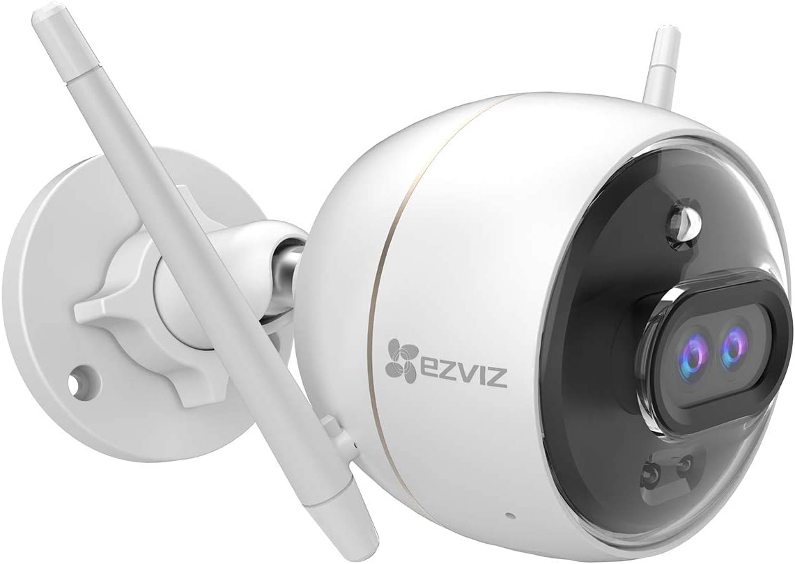 EZVIZ Outdoor Security Camera Dual Lens 1080P, Excellent Color Night Vision, Active Light & Siren Alarm with PIR Motion Detection, Weather Proof, Two-way Talk, the First Dual Lens Security Camera(C3X)