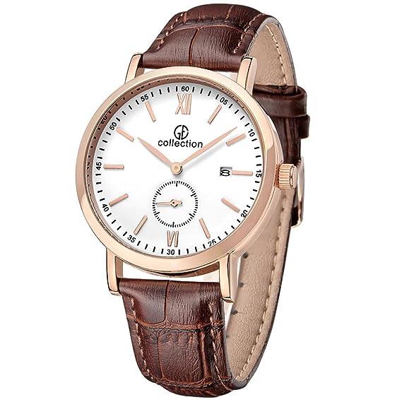 GE Collection Hombre Cuarzo Relojes Vintage Negro Correa de piel segundo dial de color blanco Carcasa en Oro Rosa: Amazon.es: Relojes