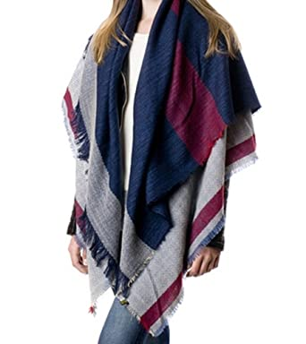 plaid blanket scarf tartan plaid scarf christmas present navy at amazon womens clothing store - Christmas Plaid Scarf
