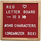 Felt Letter Board Set - Red - 10x10 Oak Wood Frame - Includes 346 3/4 White Letters with Organizer - Changeable Messages Great for Kids or Business
