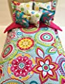 18 inch Doll Reversible Comforter Set Bright Flower Burst Hand Crafted To fit Dolls Up to 18 Inches