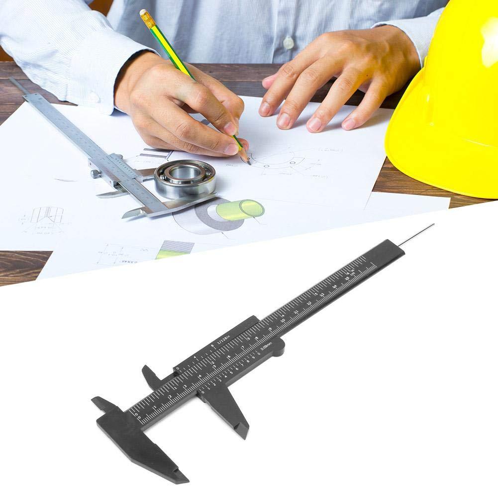 Liukouu 150mm High Accuracy Plastic Double Rule Scale Vernier Caliper Measuring Tool 0.5mm Black