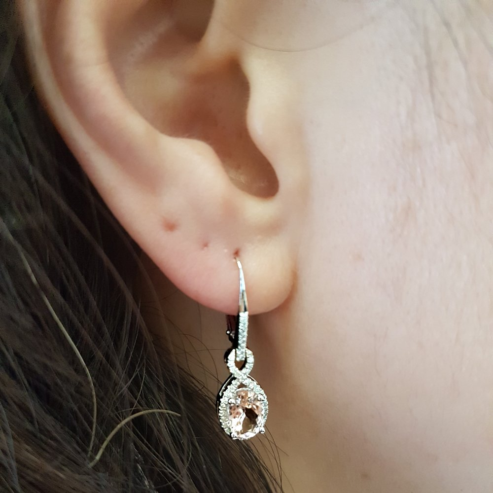 10K White Gold Oval Morganite & Round White Diamond Ladies Infinity Dangling Earrings by DazzlingRock Collection (Image #4)