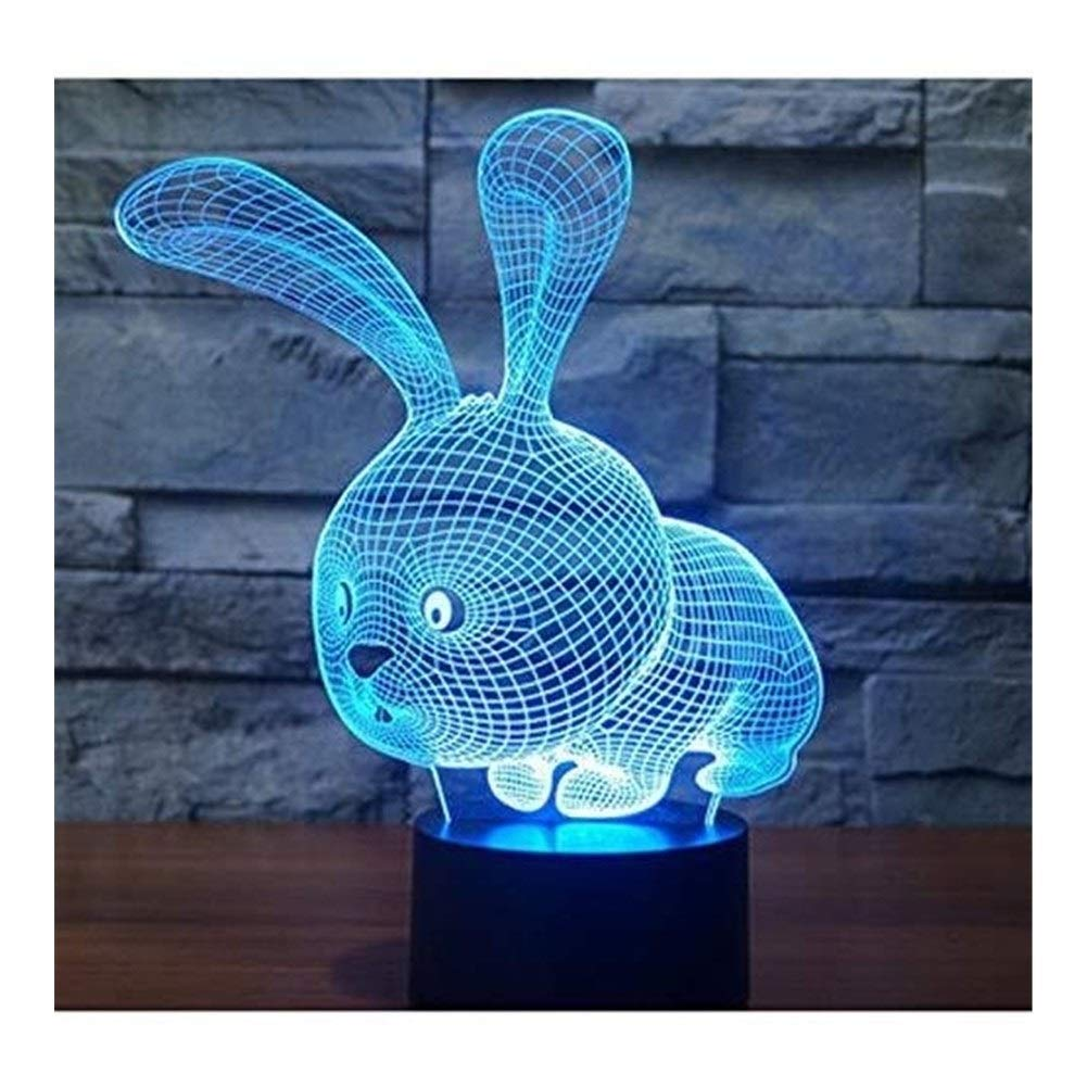 JINXUXIONGDI Visual Stereo Vision 3D Bunny Night Lights 7 Colors of Amazing Illusion Led Lights Home Decoration Lights Children's Decoration