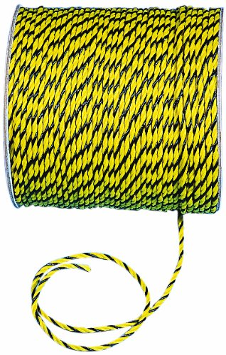 Mutual 14980 3-Strand Twisted Polypropylene Safety Rope, 1490 lbs Tensile Strength, 1200' Length x 1/4'' Width, Yellow/Black