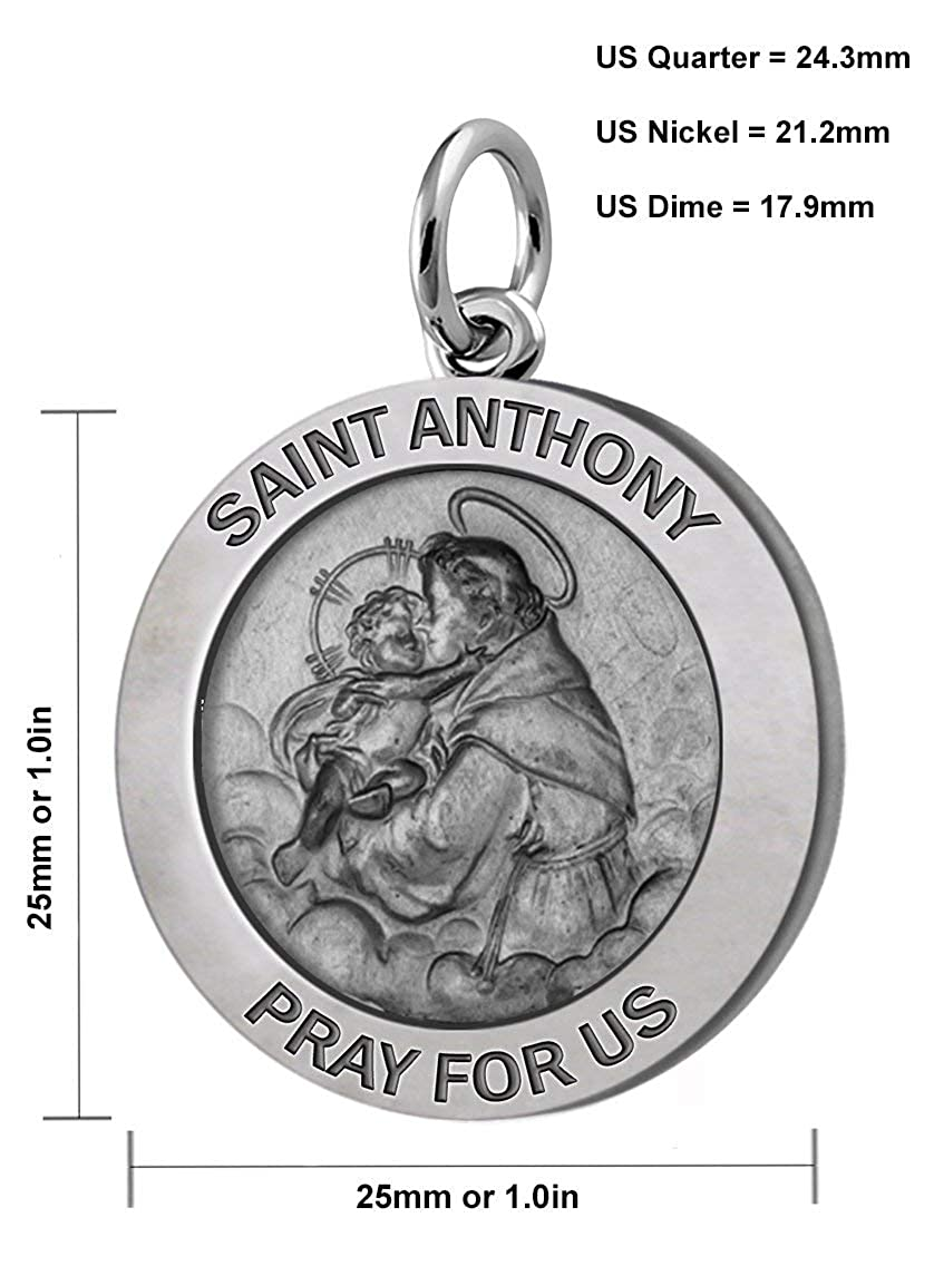 US Jewels and Gems Mens 1in 0.925 Sterling Silver Saint Anthony Round Antiqued Pendant Necklace 18in to 24in