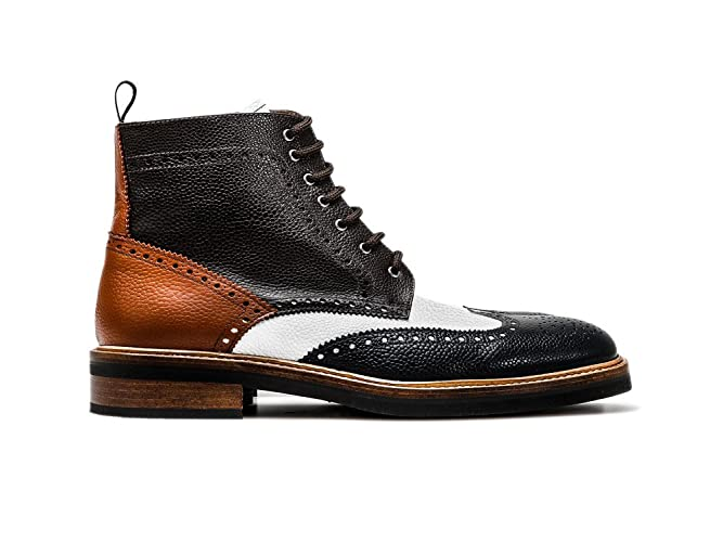 9ef9a8141384 Amazon.com  Customized Shoes - Multicolor Leather Wing Brogue Ankle Boot -  Man  Handmade