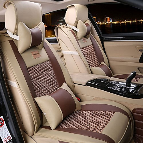 (Car Seat Cover Cushions PU Leather, FuriAuto Front Rear Full Set Car Seat Covers for 5 Seats Vehicle Suitable for Year Round Use)