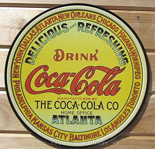 ShopForAllYou Vintage Decor Signs Coca~Cola VTG Keg Label Round TIN Sign Coke Metal Diner Home Bar Wall Decor 1070