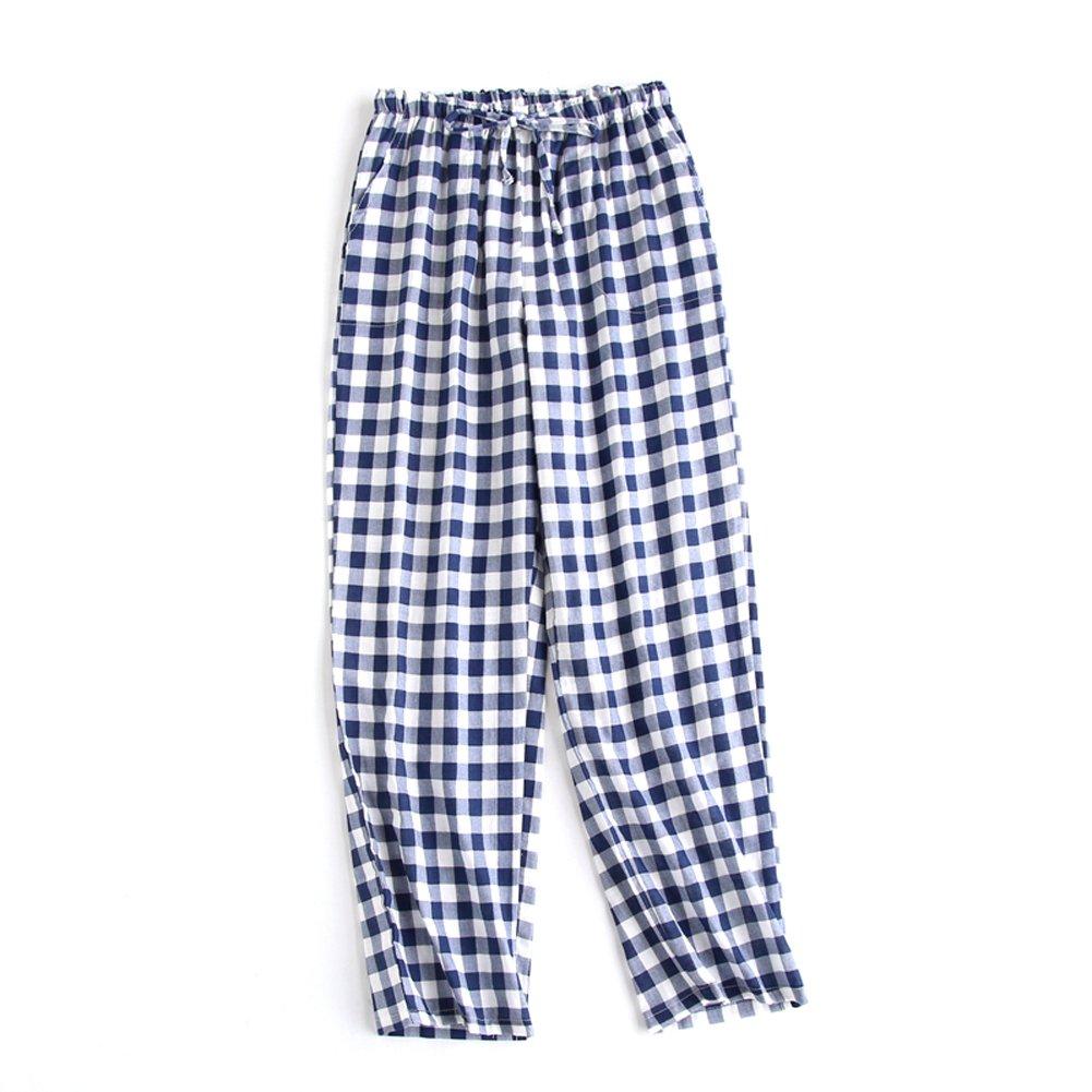 SYCLZ Big Boys Youth Woven 100% Cotton Breathable Lightweight Sleep Lounge Pants Plaid Check Pajama Bottoms with Pocket (M, Navy)