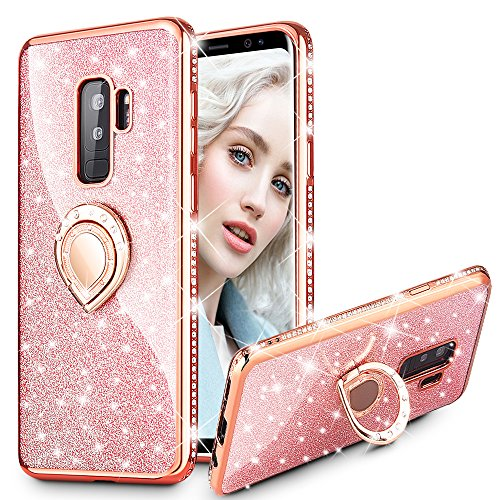 Diamond Rhinestone Bling Cover (Maxdara Galaxy S9 Plus Case, Galaxy S9 Plus Glitter Case Sparkle Shiny Bling Diamond Rhinestone Bumper Girls Women Case Ring Holder Grip Stand Case Cover for Samsung Galaxy S9 Plus 6.2 inch (Rosegold))