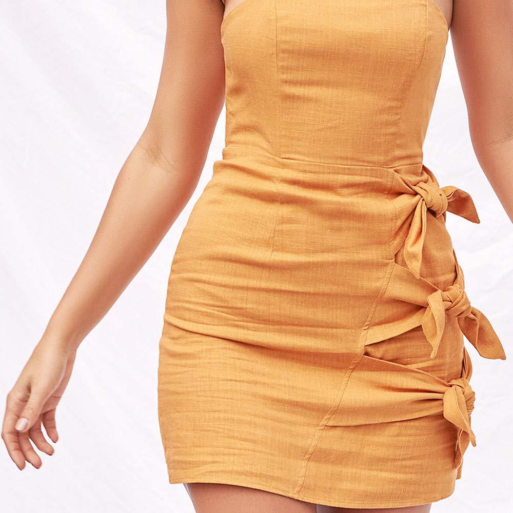 Willow S Women Fashion Elegant Casual Daily Slash Neck Strapless Bandage Bow Solid Sleeveless Loose Dress