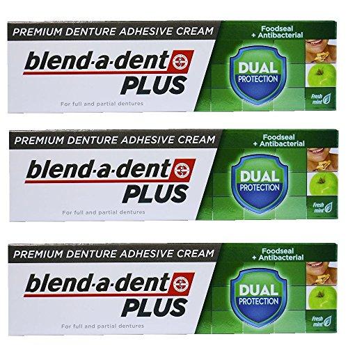 German blend-a-dent PLUS Premium Denture Adhesive Cream Dual Protection 40g (3 PACK) (Best Denture Adhesive 2019)