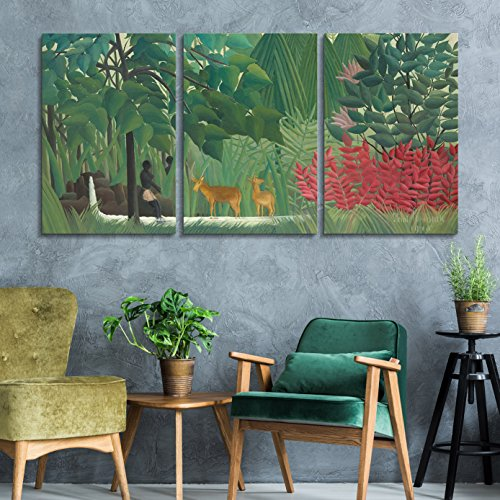 wall26 3 Panel World Famous Painting Reproduction on Canvas Wall Art - The Waterfall by Henri Rousseau - Modern Home Decor Ready to Hang - 24