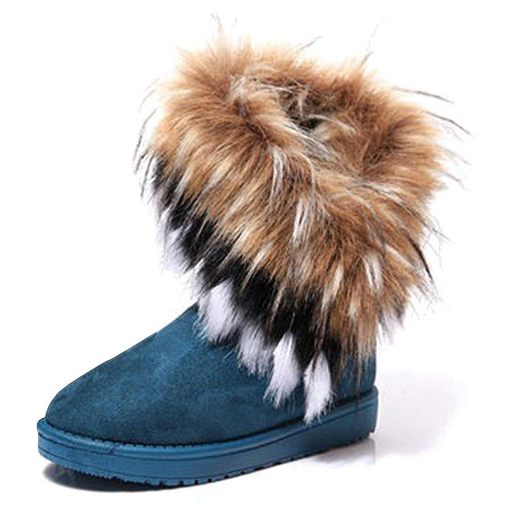 KINDOYO Bottes Mode d Chaud Vert hiver Fourrure Bottines B078RQM196 Femme Chaud Chaussures de Neige Chaud Cheville Plat Tricot Laine Bottes Vert a552686 - automatisms.space