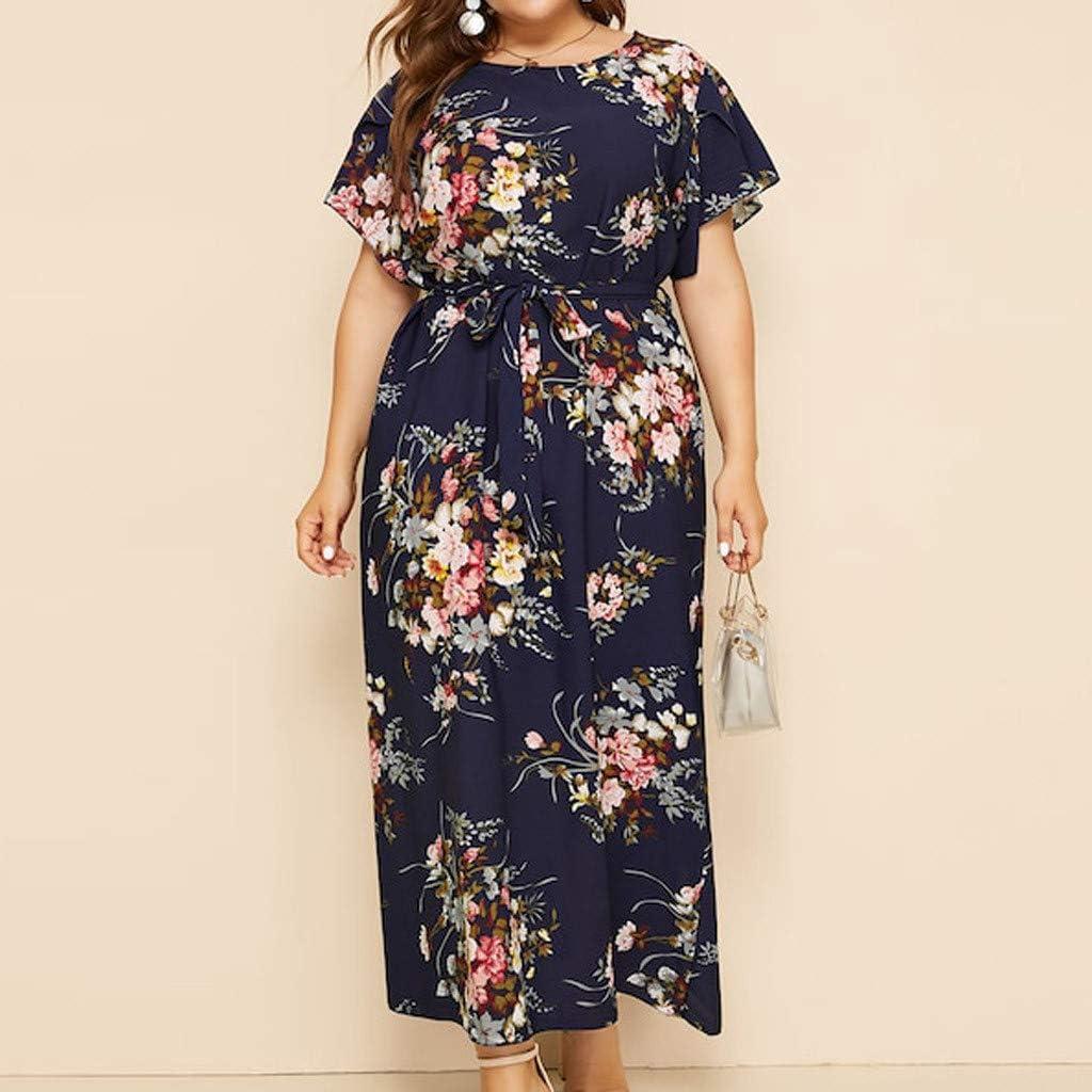 Sakoid Womens Floral Print Plus Size Dress Retro O-Neck Short Sleeve Gowns Girls Casual High Waist Bandage Dress