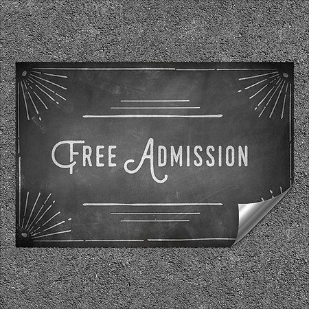 CGSignLab |''Free Admission -Chalk Corner'' Heavy-Duty Industrial Self-Adhesive Aluminum Wall Decal | 27''x18''