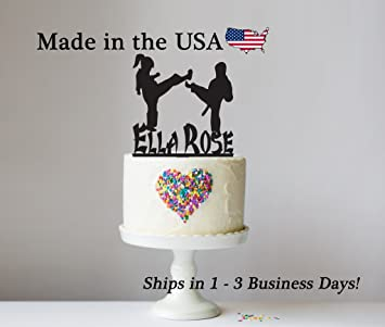 Karate Cake Topper With FREE Keepsake Base Martial Arts Fight Match