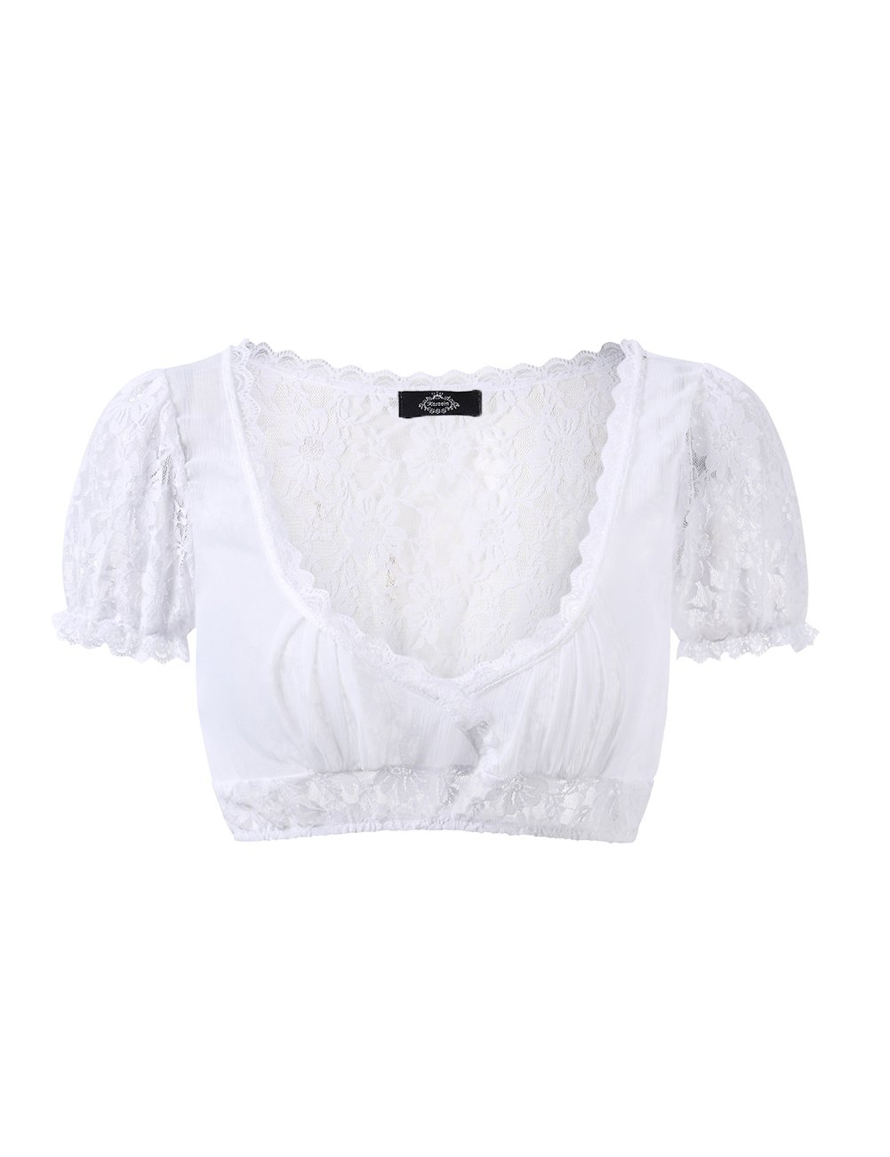Aoile Women's Beer Festival Sexy Dirndl Top, See-Through Dirndl Lace Chiffon Splicing Stylish Dirndl Top