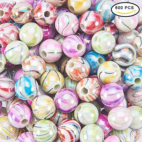 PH PandaHall 1 Box (about 600pcs) Multicolor Wave Printed Acrylic Beads 8mm Round Ball Loose Beads for DIY Bracelets Jewelry Making