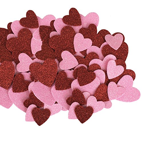 Red & Pink Glitter Hearts Table Scatter - Valentines, Weddings, Crafts