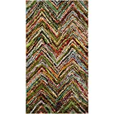"Safavieh Nantucket Collection NAN141B Handmade Blue and Multi Cotton Area Rug, 2 feet 3 inches by 4 feet (2'3"" x 4')"