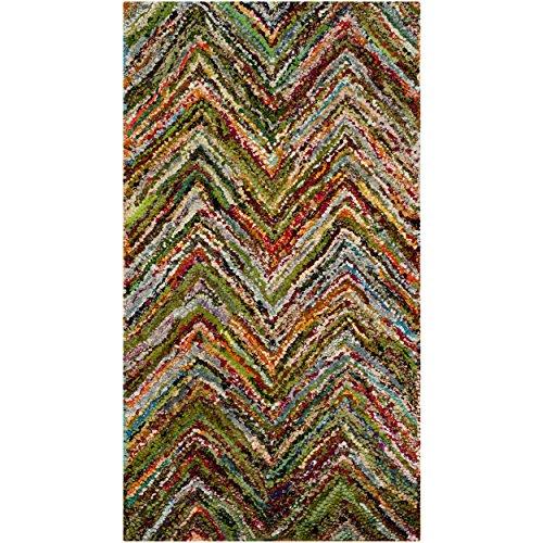 Safavieh Nantucket Collection NAN141B Handmade Abstract Chevron Multicolored Cotton Area Rug (2'3