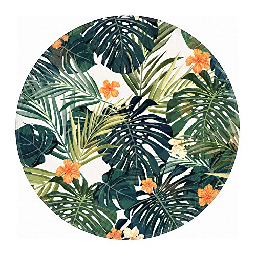Palm Leaves Bathroom Rug, Uphome Flannel Microfiber 2 Ft Round Non-slip Soft Absorbent Bathroom Kitchen Floor Mat Carpet (Memory D60)