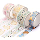 YUBBAEX Super Cute Washi Tape Set, 25MM Wide 4 Rolls Gold Decorative Masking Tapes for Bullet Journal,Scrapbook, Planner…