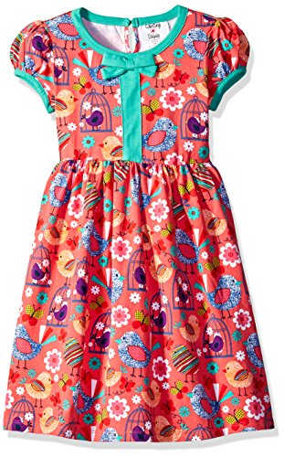 Rare Editions Little Girls' Conversational Bird Cage Dress, Coral, 6