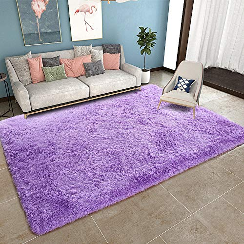 YOH Super Soft Shag Area Fur Rugs Fluffy Nursery Rugs Area Rugs for Bedroom and Living Room Shaggy Area Rug Dining Living Room Carpet (5'3''x7'5,Purple)