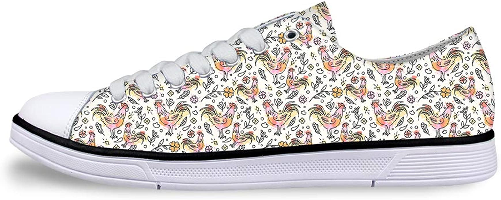 Boys Girls Casual Lace-up Sneakers Running Shoes Paint Floral Mighty Cock Rooster